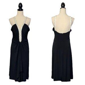 Black Cocktail Dress Silver/White Beading US Sz 14